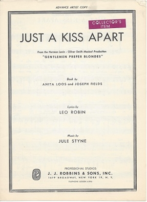 """Picture of Just a Kiss Apart, from """"Gentlemen Prefer Blondes"""", Jule Styne & Leo Robin"""