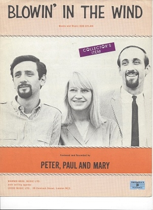 Picture of Blowin' In The Wind, Bob Dylan, recorded by Peter, Paul, and Mary