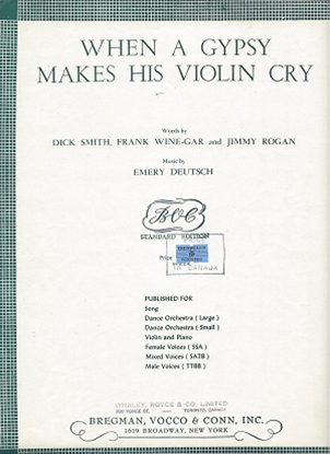 Picture of When A Gypsy Makes His Violin Cry, Emery Deutsch