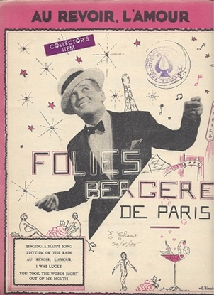 """Picture of Au Revoir L'Amour, Maurice Chevalier, from """"Folies Bergere De Paris"""", Jack Meskill & Jack Stern, sung by Maurice Chevalier"""