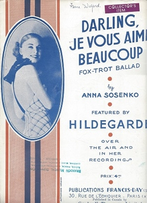 Picture of Darling Je Vous Aime Beaucoup, by Anna Soskenko, sheet music