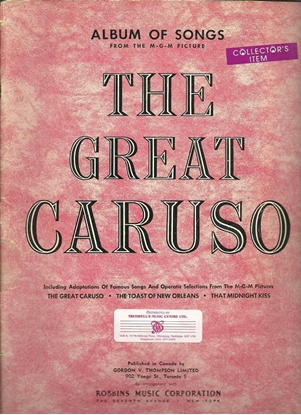 Picture of The Great Caruso, from the MGM Motion Picture Soundtrack, songbook