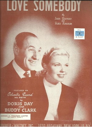 Picture of Love Somebody, Joan Whitney and Alex Kramer, recorded by Doris Day and Buddy Clark