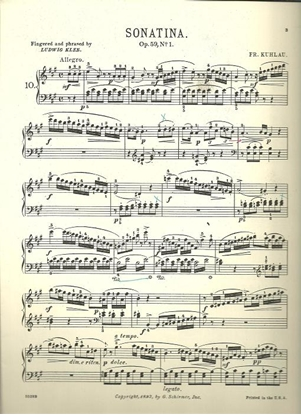 Picture of Sonatina Op. 59 #1, Friedrich Kuhlau, piano solo