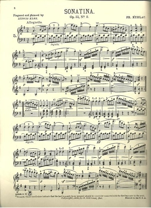 Picture of Sonatina Op. 55 #2, Friedrich Kuhlau, piano solo