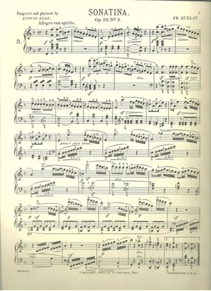 Picture of Sonatina Op. 20 #3, Friedrich Kuhlau, piano solo