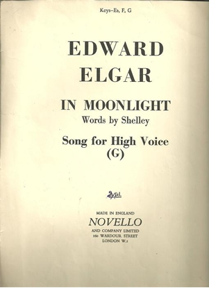 Picture of In Moonlight, Edward Elgar, lyrics Percy Shelley, high voice in G