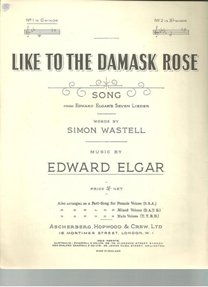 Picture of Like to the Damask Rose, Edward Elgar, vocal solo