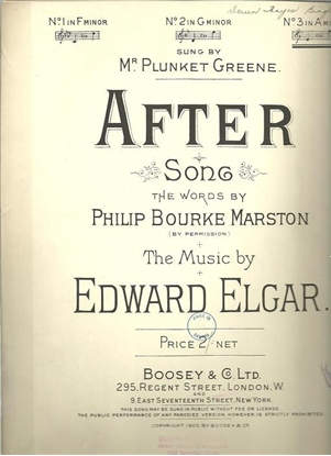 Picture of After, P. B. Marston & Edard Elgar, high voice solo