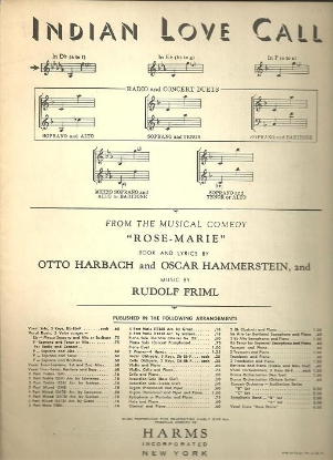 """Picture of Indian Love Call, from operetta """"Rose-Marie"""", Otto Harbach/ Oscar Hammerstein/ Rudolph Friml, low voice solo"""