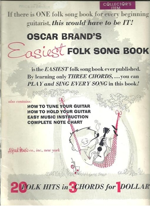 Picture of Oscar Brand's Easiest Folk Song Book, easy guitar songbook
