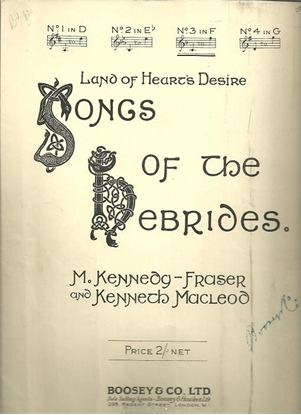"""Picture of Land of Heart's Desire, from """"Songs of the Hebrides"""", M. Kennedy-Fraser, medium high vocal solo"""