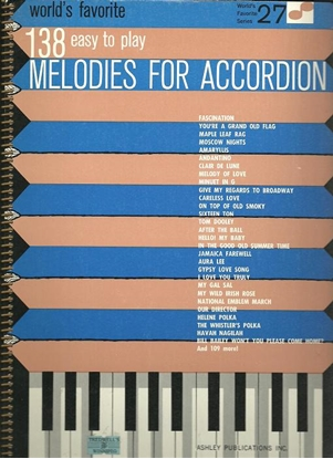 Picture of World's Favorite Series No. 27, 138 Easy to Play Melodies for Accordion, WFS27, ed. A. Gamse & S. Sechak, songbook