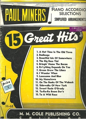 Picture of Paul Miners 15 Great Hits, accordion songbook
