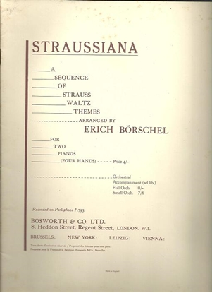 Picture of Straussiana (Strauss Waltzes), arr. Erich Borschel for piano duo