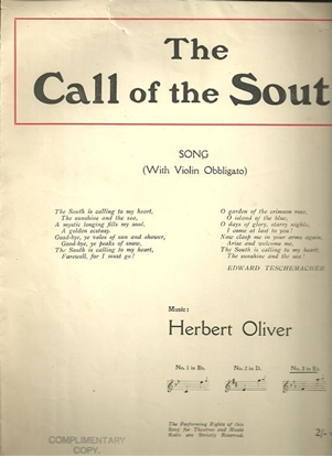 Picture of The Call of the South, Edward Teschemacher & Herbert Oliver, high voice solo