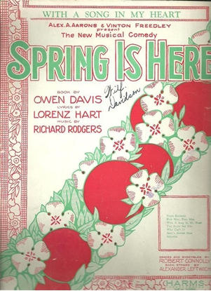 """Picture of With a Song in My Heart, from """"Spring is Here"""", Rodgers & Hart"""