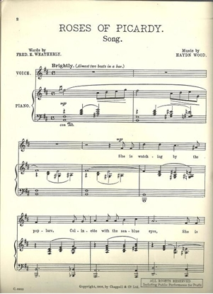 Picture of Roses of Picardy, Fred Weatherly & Haydn Wood, high voice solo