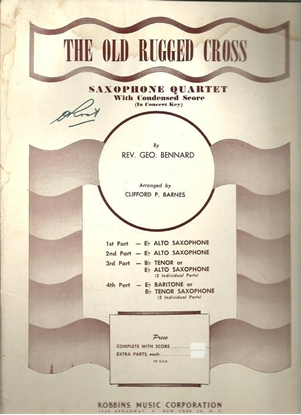 Picture of The Old Rugged Cross, Rev. George Bennard, arr. Clifford P. Barnes for Saxophone Quartet