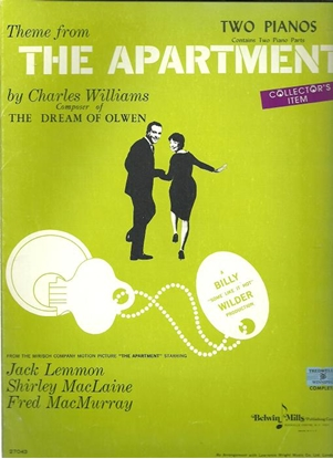 Picture of The Apartment, title song from movie, Charles Williams, arr. J. Louis Merkur for piano duo
