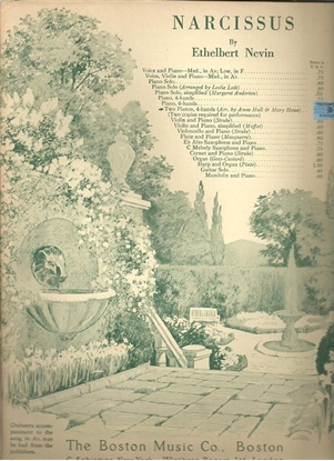 Picture of Narcissus, Ethelbert Nevin, transcr. by Anne Hull & Mary Howe, piano duo
