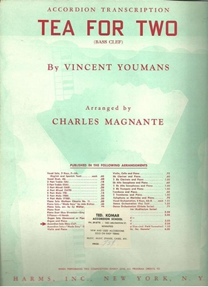 Picture of Tea for Two, Vincent Youmans, arr. Charles Magnante, accordion solo