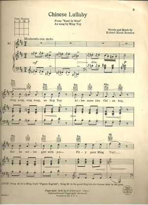 """Picture of Chinese Lullaby, from """"East is West"""", Robert Hood Bowers, high voice solo"""