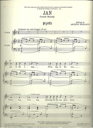 Picture of Jan, a Creole Melody, arr. Arthur Benjamin, low voice solo
