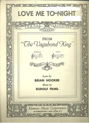 """Picture of Love Me To-Night, from """"The Vagabond King"""", Brian Hooker & Rudolph Friml, vocal duet"""