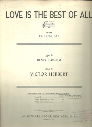 """Picture of Love is the Best of All, from """"Princess Pat"""", Victor Herbert"""