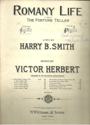 """Picture of Romany Life, from """"The Fortune Teller"""", Victor Herbert"""