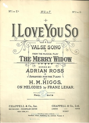 """Picture of I Love You So, from """"The Merry Widow"""", Franz Lehar, medium vocal solo"""