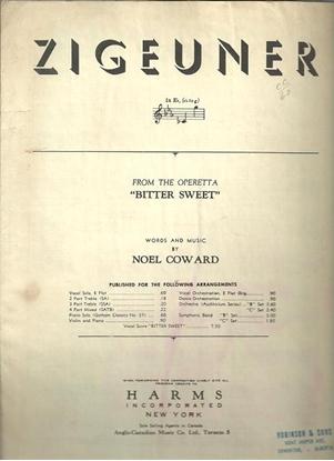 """Picture of Zigeuner, from """"Bitter Sweet"""", Noel Coward, high voice solo"""