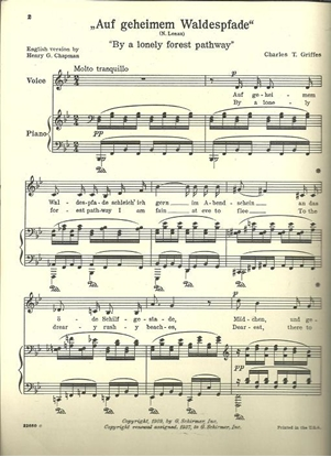 Picture of Auf geheimem waldespfade, By a Lonely Forest Pathway, Charles T. Griffes, low voice solo