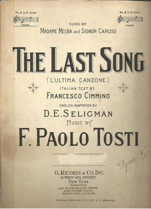 Picture of The Last Song, L'Ultima Canzone, F. Paolo Tosti, text by Francesco Cimmino, low voice