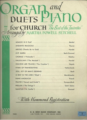 Picture of Organ and Piano Duets for Church, arr. Martha Powell Setchell