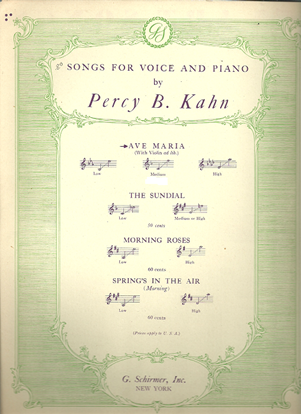 Picture of Ave Maria, Percy B. Kahn, medium voice solo sheet music