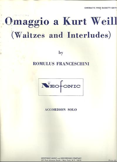 Picture of Omaggio a Kurt Weill (Waltzes & Interludes), Romulus Franceschini, free bass accordion solo