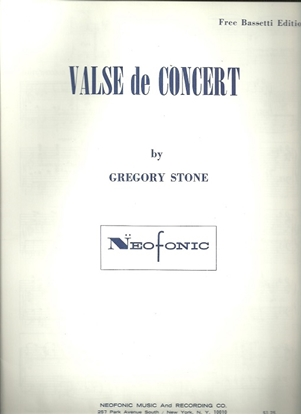 Picture of Valse de Concert, Gregory Stone, free bass accordion solo
