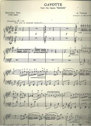 """Picture of Gavotte from the opera """"Mignon"""", A. Thomas, arr. Galla-Rini, free bass accordion solo"""