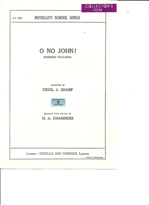 Picture of O No John, arr. Cecil J. Sharp & H. A. Chambers, unison octavo vocal solo