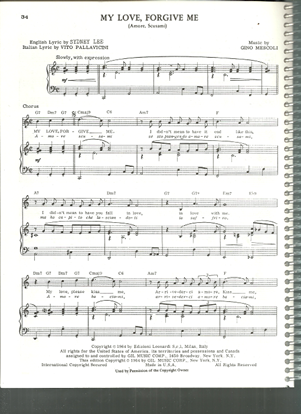 Picture of My Love Forgive Me, Amore Scusami, Vito Pallavicini & Gino Mescoli, sung by Jerry Vale