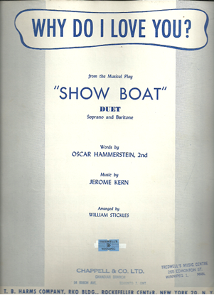 """Picture of Why Do I Love You?, from """"Show Boat"""", O. Hammerstein & Jerome Kern, vocal duet"""