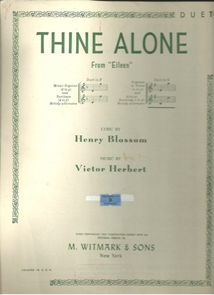 """Picture of Thine Alone, from """"Eileen"""", Henry Blossom &  Victor Herbert, vocal duet"""