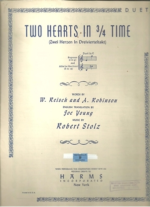 Picture of Two Hearts in 3/4 Time, W. Reisch & Robert Stolz, vocal duet