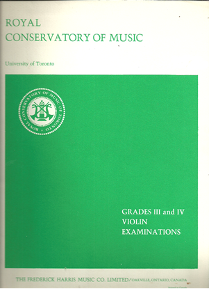 Picture of Violin Grade 3 & 4 Exam Book, 1969 Edition, Royal Conservatory of Music, University of Toronto