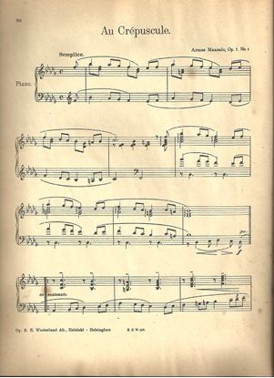 Picture of Au crepuscule Op. 1 No. 1, Armas Maasalo, piano solo