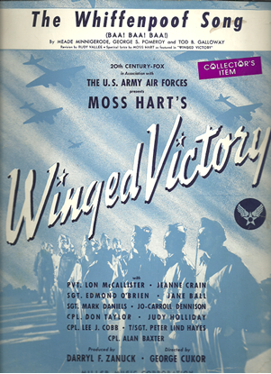 """Picture of The Whiffenpoof Song, from movie """"Winged Victory"""", Meade Minnigerode/ George S. Pomeroy/ Tod B. Galloway"""