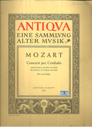 Picture of Concert No. 1 K107 in D Major, W. A. Mozart, piano solo/conductor score & parts
