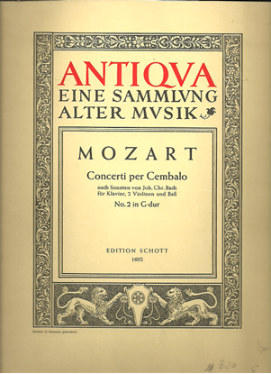 Picture of Concert No. 2 K107 in G Major, W. A. Mozart, piano solo/conductor score & parts